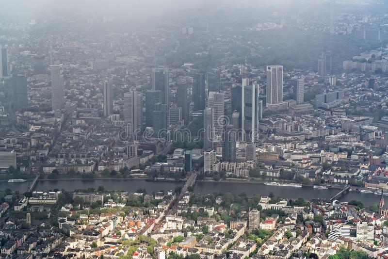 Vogelperspektive auf dem Stadtzentrum von Frankfurt am Main, Deutschland stockfoto