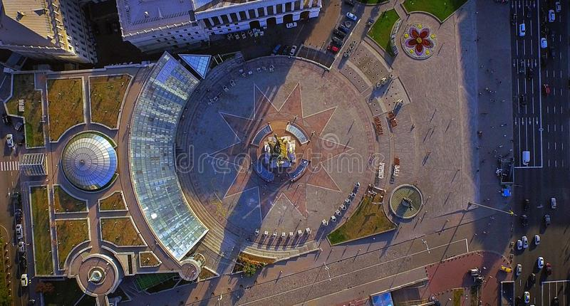 Vogelperspektive auf dem Stadtzentrum von Kiew NachtStadtbild von Minsk, Weißrussland stockbild