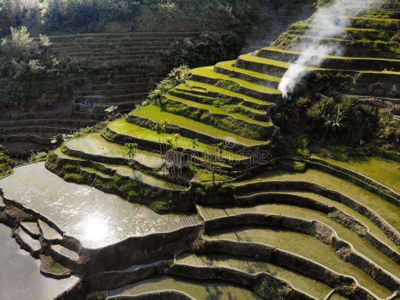 Vogelperspektive - Batad-Reis-Terrassen - die Philippinen lizenzfreie stockfotografie