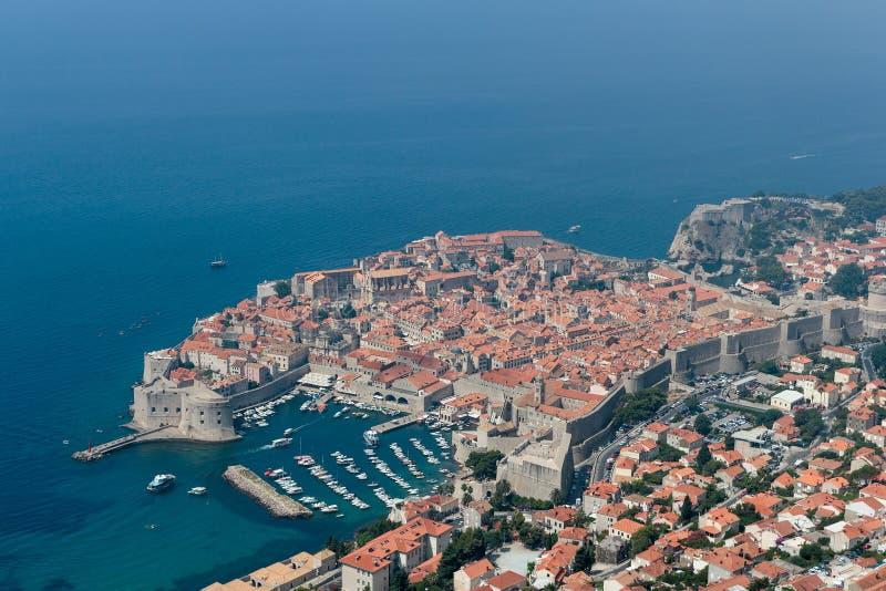 Vogelperspektive der alten Stadt von Dubrovnik lizenzfreie stockfotografie