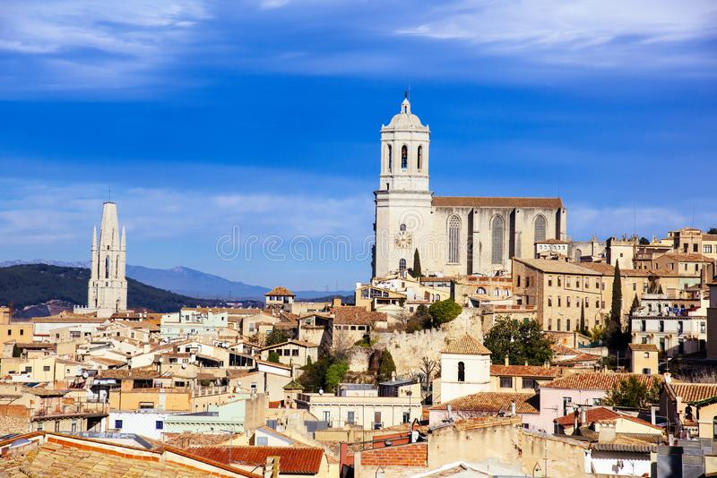 Vogelperspektive der alten Stadt von Girona, in Spanien stockbilder