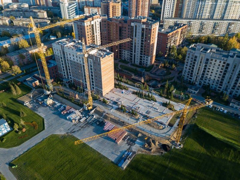 Vogelperspektive der Baustelle eines Gebäudes lizenzfreie stockfotografie