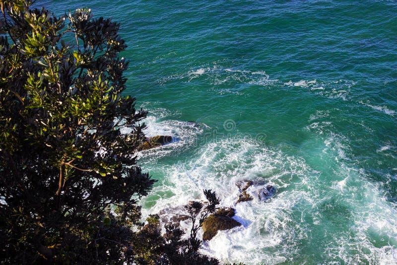 Vogelperspektive der felsigen Küste am Hafen Macquarie Australien stockfotografie