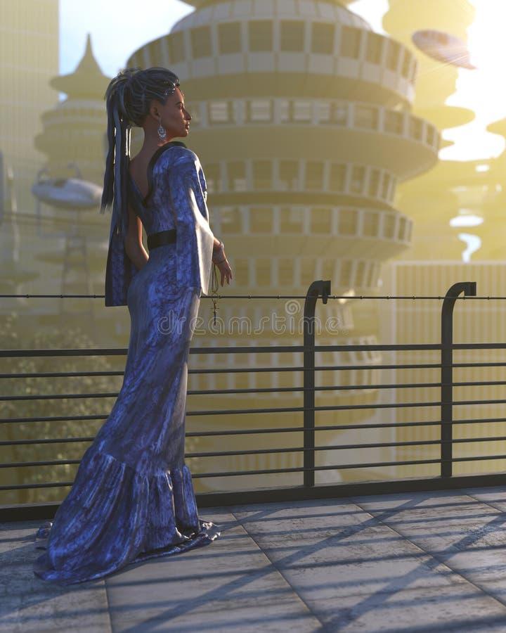 Vogelperspektive der futuristischen Stadt mit Fliegenraumschiffen und Fantasiefrau lizenzfreie abbildung