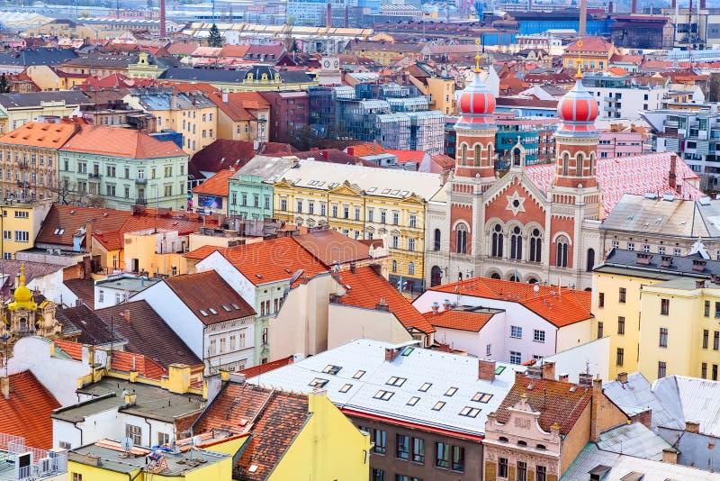 Vogelperspektive der großen Synagoge in Pilsen, Tschechische Republik stockbilder