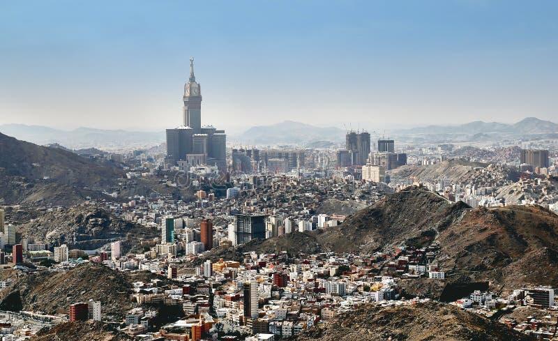 Vogelperspektive der heiligen Stadt des Mekkas in Saudia Arabien stockbilder