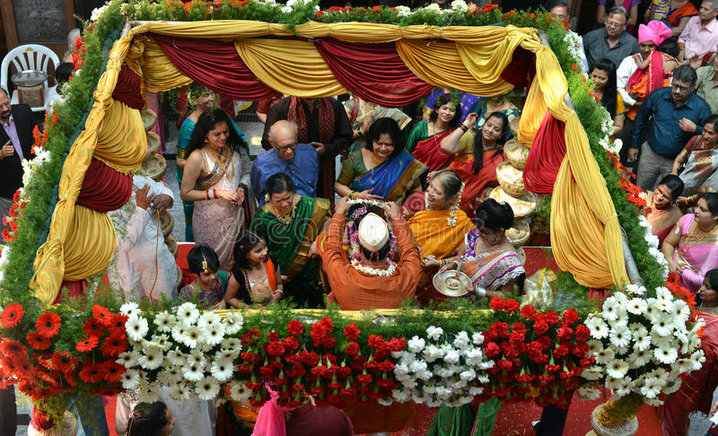 Vogelperspektive der Hochzeitszeremonie lizenzfreies stockbild