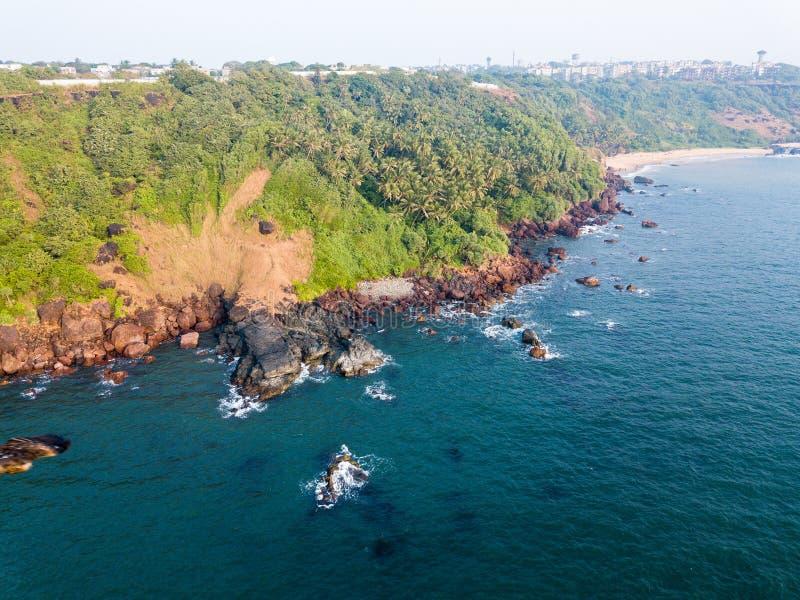 Vogelperspektive der Küstenlinie von Vasco da Gama in Goa Indien stockfotografie