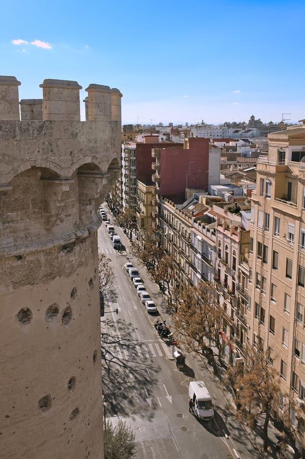 Vogelperspektive der Mitte von Valencia stockfotografie