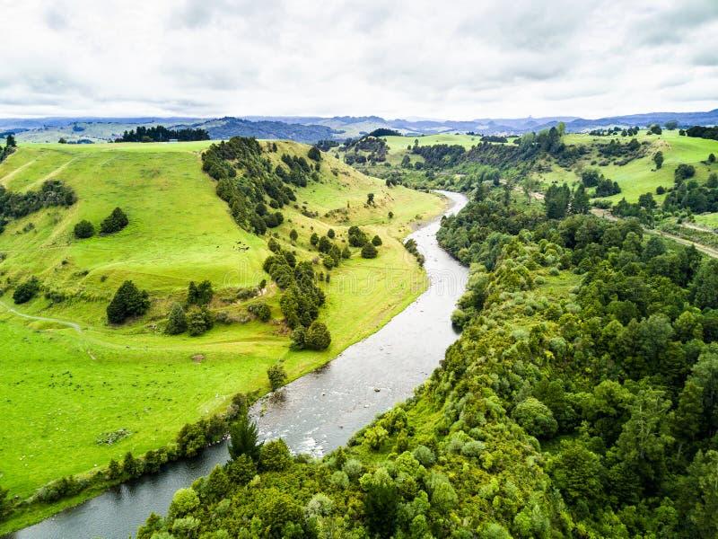 Vogelperspektive der schönen Landschaft von Whanganui, Neuseeland lizenzfreie stockfotografie