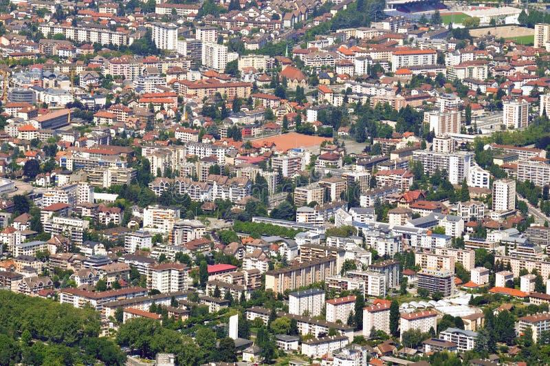 Vogelperspektive der Stadt von Annecy stockfoto