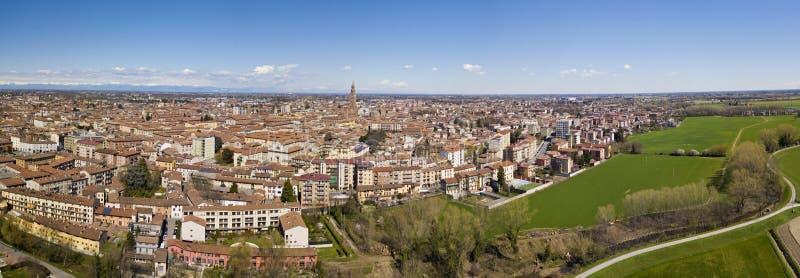Vogelperspektive der Stadt von Cremona, Lombardei, Italien Kathedrale und Torrazzo von Cremona stockfotografie
