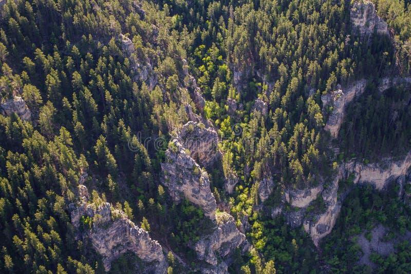 Vogelperspektive der Stangenfischschlucht, South Dakota lizenzfreie stockfotos