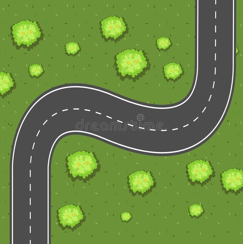 Vogelperspektive der Straße auf dem grünen Land vektor abbildung