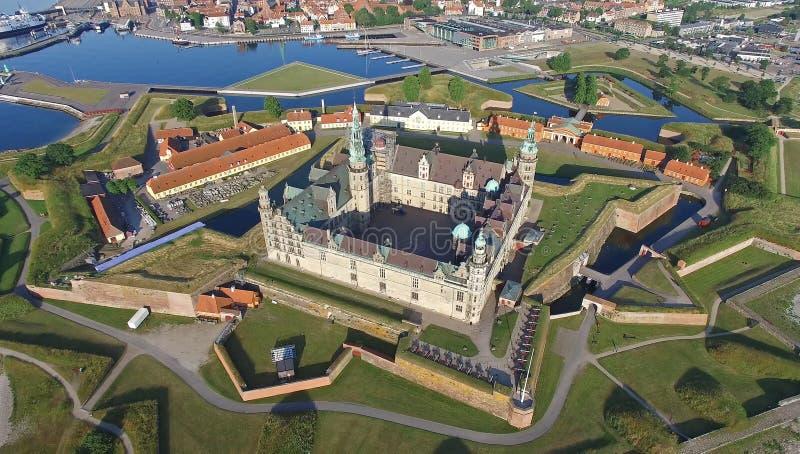 Vogelperspektive des alten Schlosses Kronborg, Dänemark lizenzfreies stockfoto