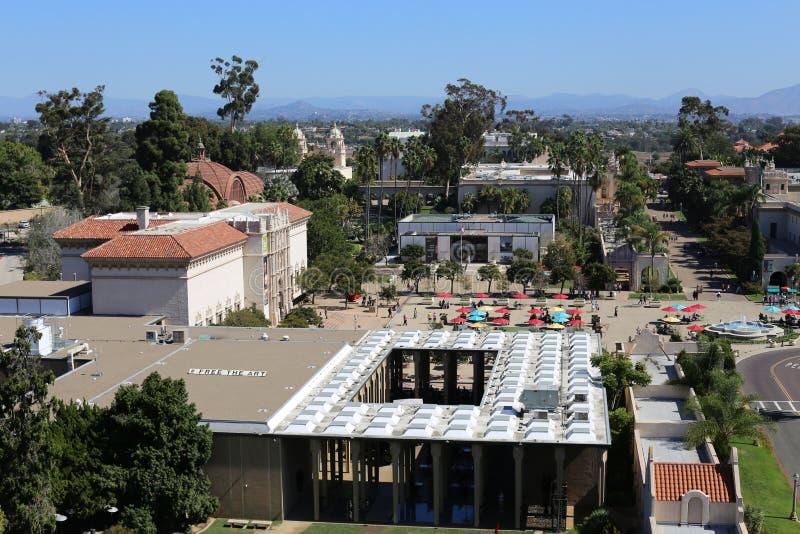 Vogelperspektive des Balboa-Parks in San Diego, Kalifornien lizenzfreie stockfotografie