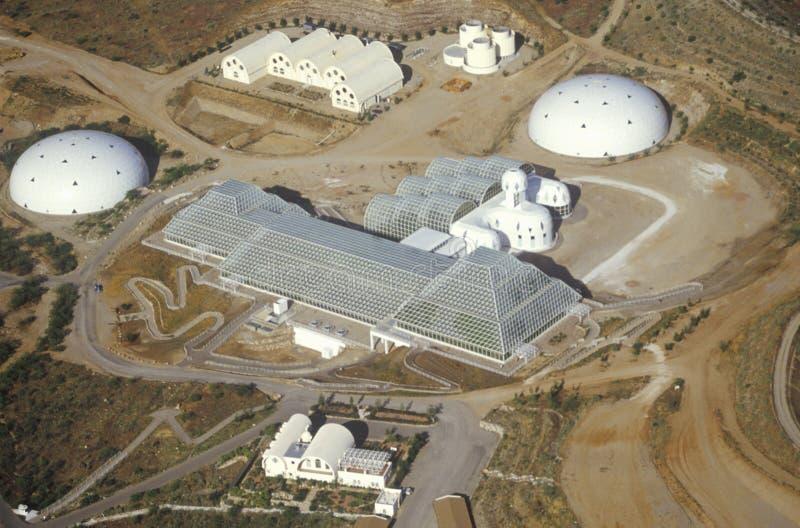 Vogelperspektive des beiliegenden Ökosystems von Biosphäre 2 bei Oracle in Tucson, AZ stockfotografie
