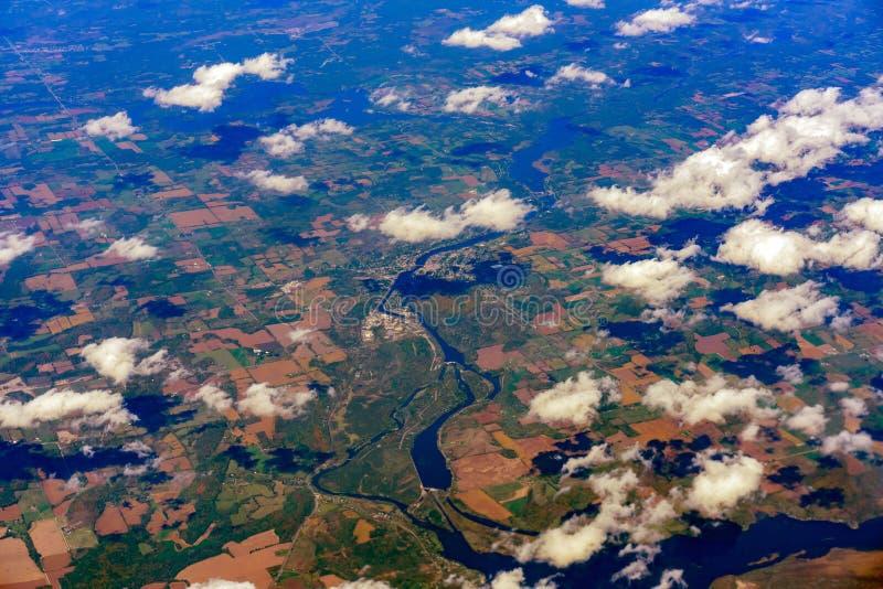 Vogelperspektive des Campbellford, Meyersburg, Meyers-Insel, Trent River lizenzfreies stockbild