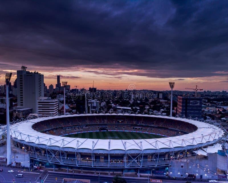 Vogelperspektive des Cricketplatzes lizenzfreie stockfotografie