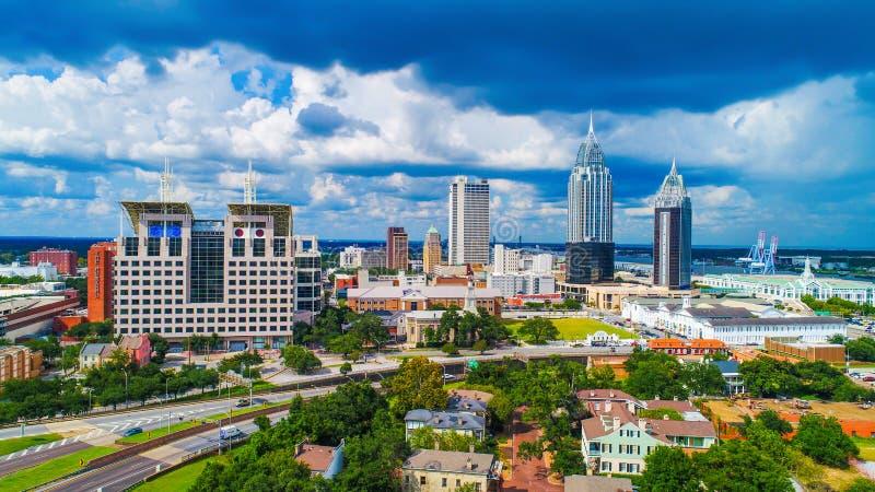 Vogelperspektive des in die Stadt Mobiles, Skyline Alabamas, USA stockfotografie