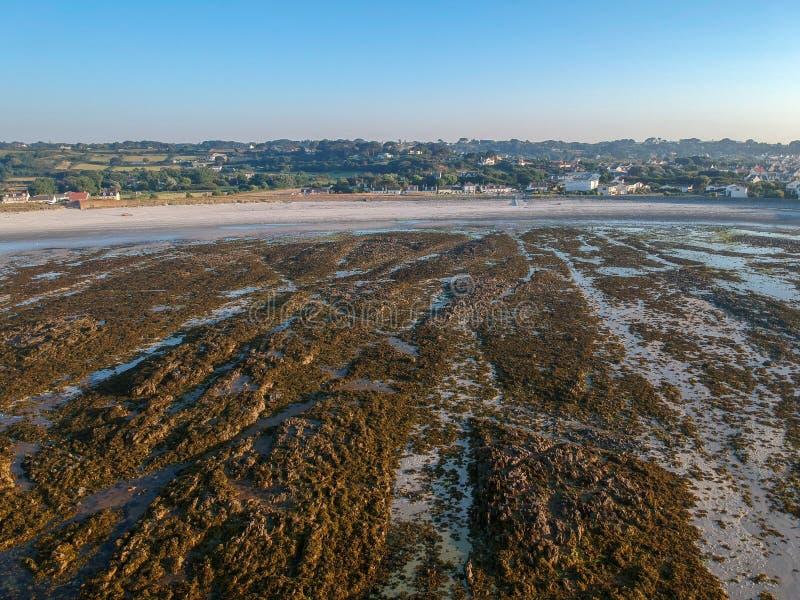 Vogelperspektive des felsigen Küstenlinienstrandes und des Dorfs auf dem Hintergrund in der Südküste von Guernsey-Insel lizenzfreies stockfoto