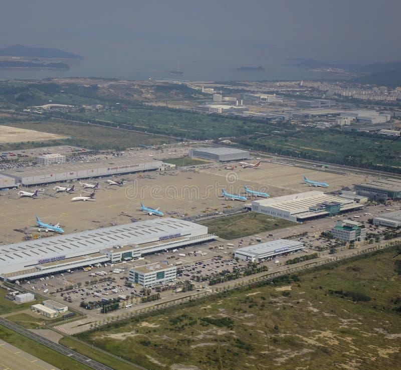 Vogelperspektive des Flughafens stockfotografie