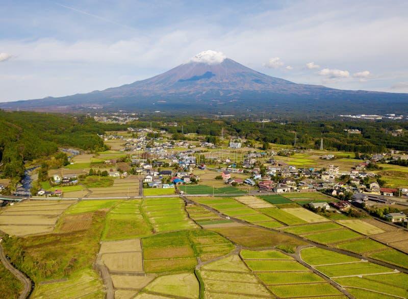 Vogelperspektive des Fuji-Gebirgs- und -reisfeldes am Mittag in Fujikawag lizenzfreie stockbilder