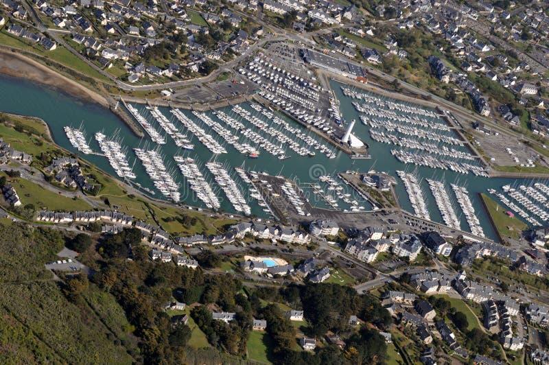 Vogelperspektive des Hafens-Crouesty in Bretagne, Frankreich stockbild