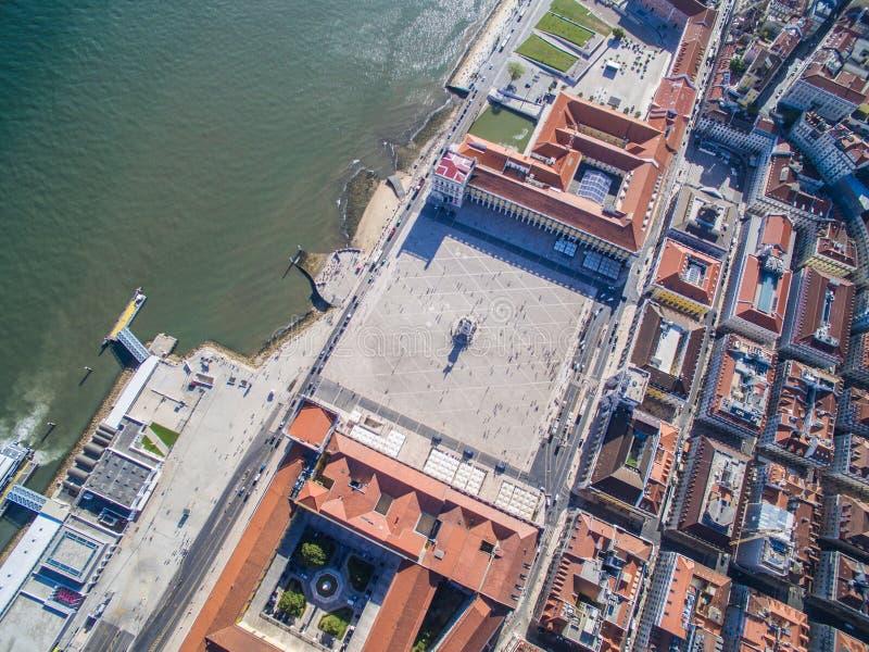 Vogelperspektive des Handels-Quadrats von Lissabon, Portugal stockfoto