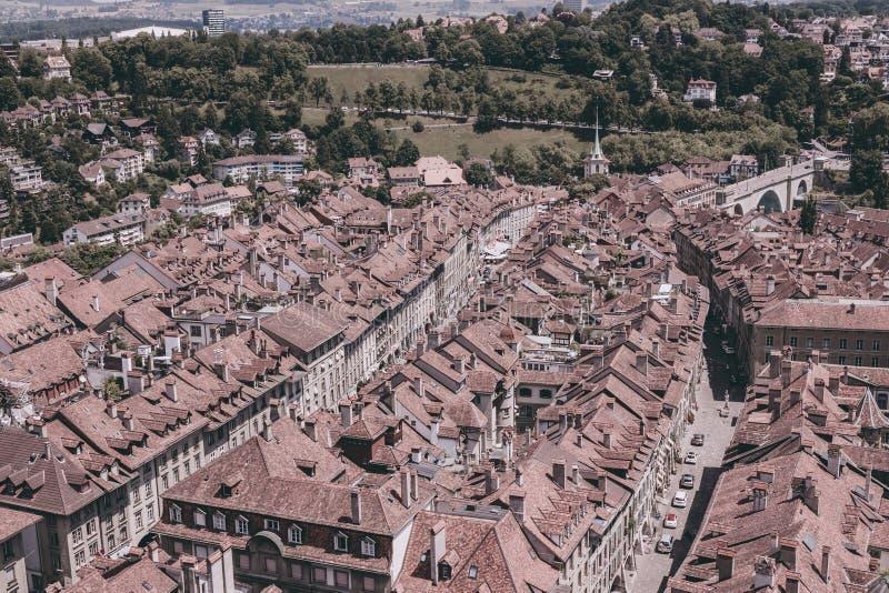 Vogelperspektive des historischen Bern-Stadtzentrums von Bern Minster, die Schweiz stockfoto