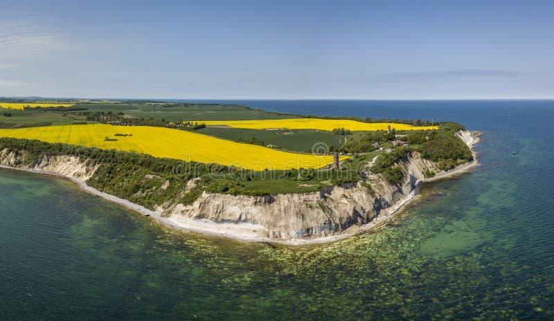 Vogelperspektive des Kaps Arkona auf der Insel von Ruegen in Mecklenburg-Vorpommern stockfoto