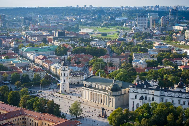 Vogelperspektive des Kathedralen-Quadrats von Vilnius stockbild