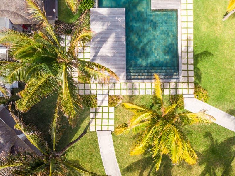 Vogelperspektive des Luxushotelerholungsortes mit Swimmingpool mit der Treppe und hölzerner Plattform umgeben durch Palmen lizenzfreies stockfoto