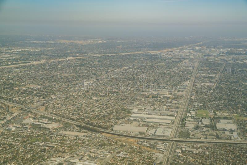 Vogelperspektive des Lynwood-Bereichs, der Piazzas Mexiko und des Comptons lizenzfreies stockfoto