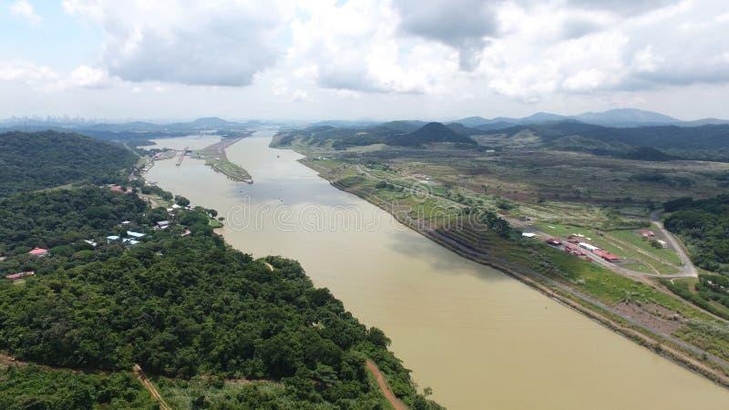 Vogelperspektive des Panamakanals lizenzfreies stockfoto