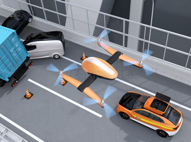 Vogelperspektive des Rettungsdrohnenfliegens von der elektrischen Rettung SUV zum notierendes Autounfall auf Landstraße stock abbildung