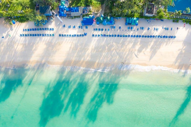 Vogelperspektive des sandigen Strandes mit den Touristen, die im schönen klaren Meerwasser in Phuket, Thailand schwimmen stockfotos