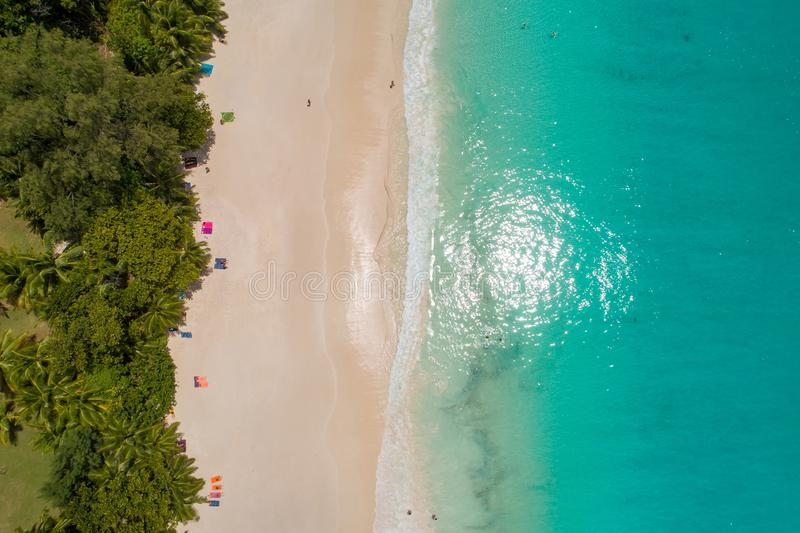 Vogelperspektive des sandigen Strandes mit den Touristen, die im schönen klaren Meerwasser schwimmen lizenzfreies stockfoto