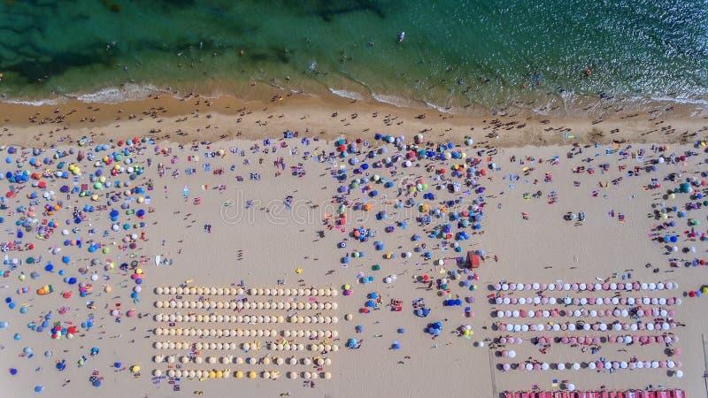 Vogelperspektive des sandigen Strandes mit den Touristen, die im schönen Meerwasser schwimmen stockbilder