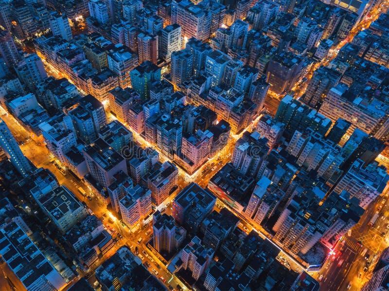 Vogelperspektive des Schnitts in Hong Kong Downtown Finanzdis stockbilder