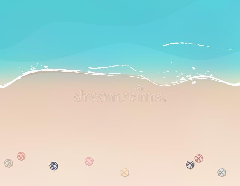 Vogelperspektive des Seestrandes mit Strandschirmen lizenzfreie abbildung