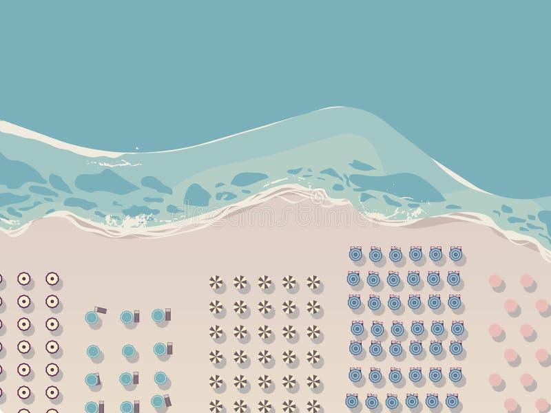 Vogelperspektive des Seestrandes mit Strandschirmen und Strandstühlen lizenzfreie abbildung
