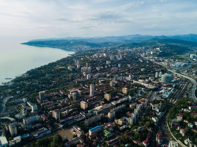 Vogelperspektive des Stadtzentrums stockbild