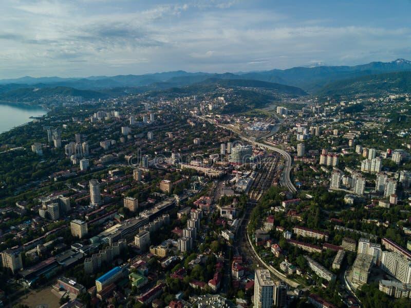 Vogelperspektive des Stadtzentrums stockfotografie