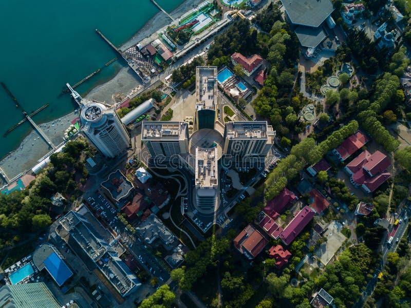 Vogelperspektive des Stadtzentrums stockbilder
