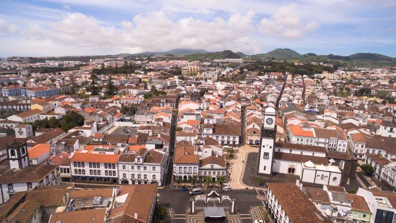 Vogelperspektive des Stadtzentrums und des Praca DA Republica in Ponta Delgada, Azoren, Portugal stockfoto