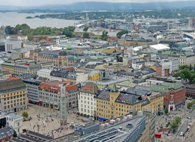 Vogelperspektive des Stadtzentrums von Oslo lizenzfreie stockbilder