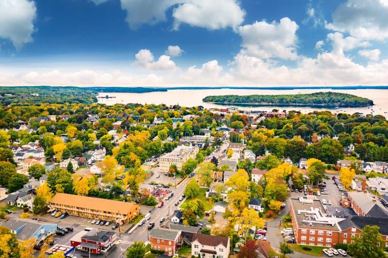 Vogelperspektive des Stangen-Hafens, Maine stockfotos