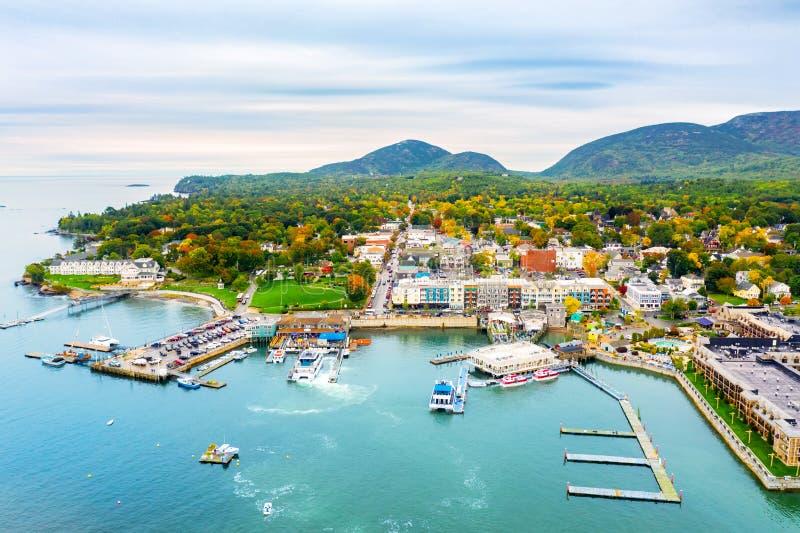 Vogelperspektive des Stangen-Hafens, Maine lizenzfreies stockfoto
