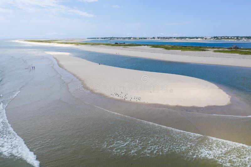 Vogelperspektive des Strandes und des Ozeans auf Cape Cod, MA lizenzfreies stockfoto